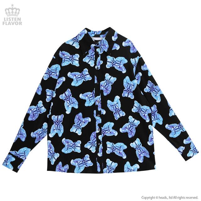 ハーネスベア総柄シャツ 【BLACK×BLUE】/リッスンフレーバー [原宿系ファッション]