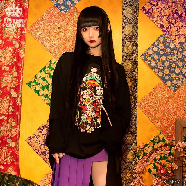 地獄少女ロングカットソー【WHITE】 / 地獄少女×リッスンフレーバー[原宿系ファッション]