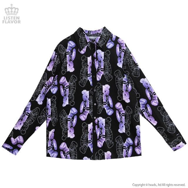 ポリゴンベア総柄シャツ 【BLACK×BLUE】/リッスンフレーバー [原宿系ファッション]