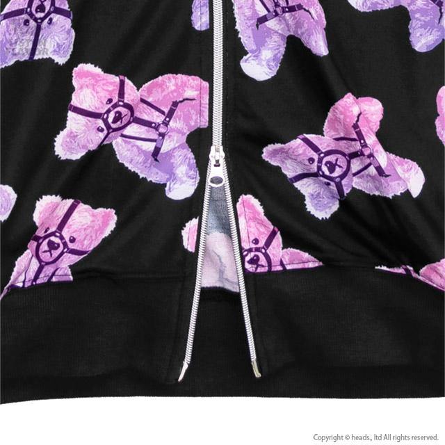 ハーネスベア総柄ジップパーカー 【BLACK×PINK】/リッスンフレーバー [原宿系ファッション]