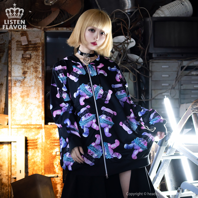 ハーネスベア総柄ジップパーカー 【BLACK×BLUE】/リッスンフレーバー [原宿系ファッション]