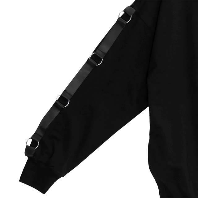 魔界のデビルネコ 袖リングプルオーバー 【BLACK×RED】/リッスンフレーバー