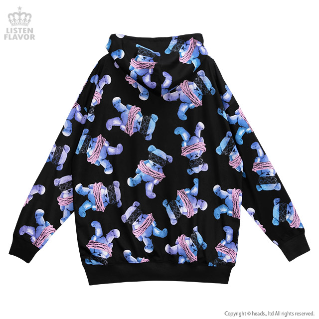 囚われのベア総柄ジップパーカー 【BLACK×BLUE】/リッスンフレーバー [原宿系ファッション]