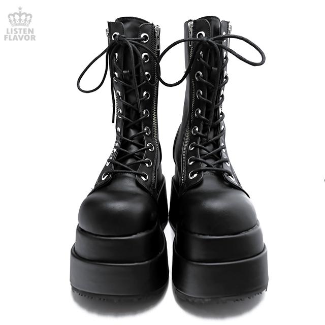 BEAR-265 ダブルサイドジップ厚底ブーツ/ DEMONIA(デモニア) [原宿系ファッション]