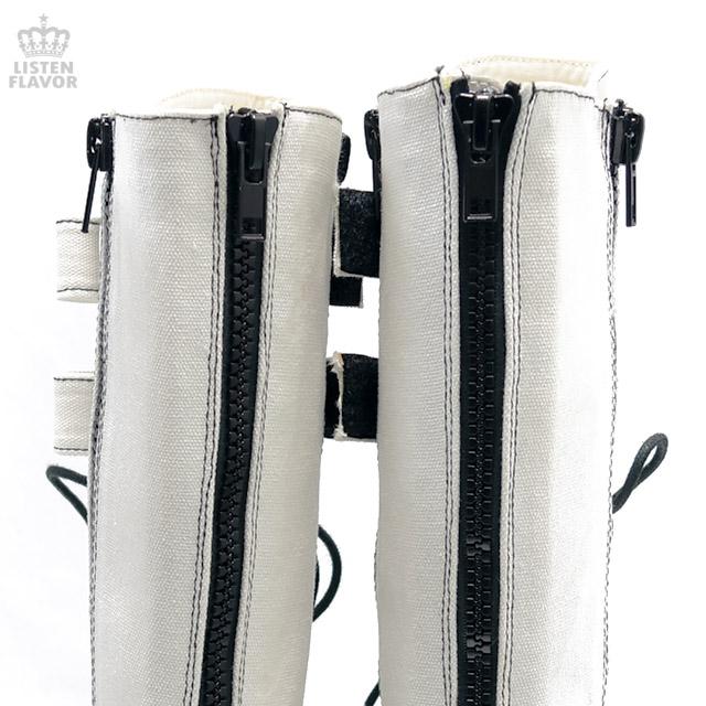 MORI-310 厚底ロングブーツ【キャンバス生地/WHITE】/ DEMONIA(デモニア) [原宿系ファッション]
