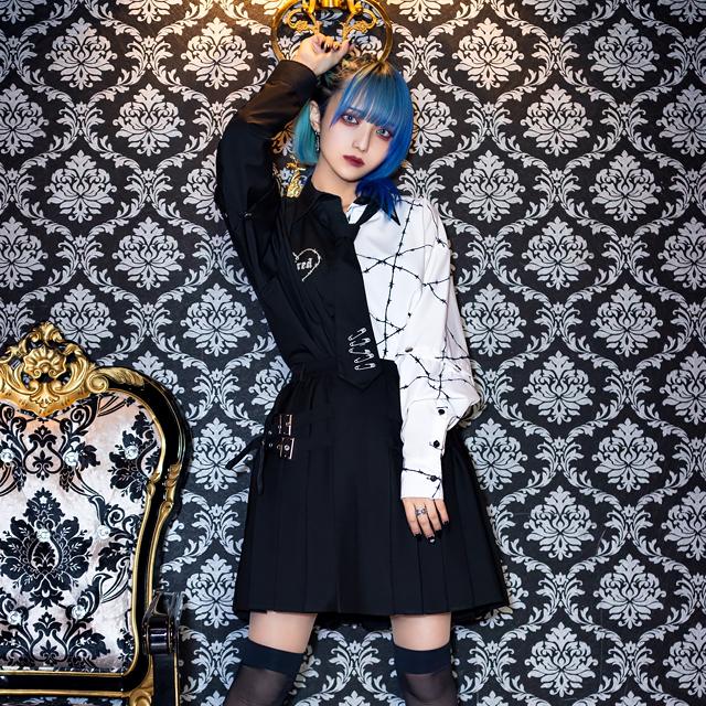 サイドベルトプリーツスカート 【BLACK CHECK】/リッスンフレーバー