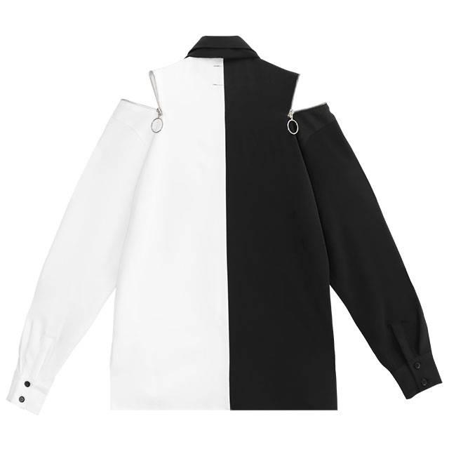 ネクタイ付 天使の翼ショルダージップシャツ 【TWO-TONE】/リッスンフレーバー