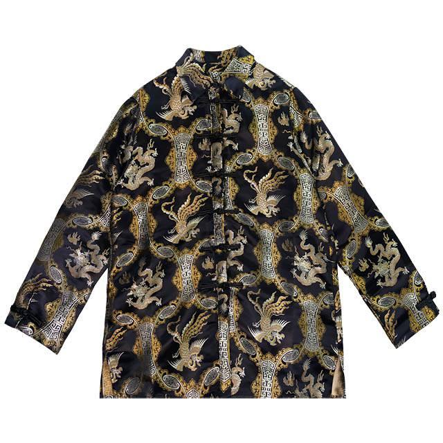 ブロケードチャイナシャツ 【BLACK】/リッスンフレーバー