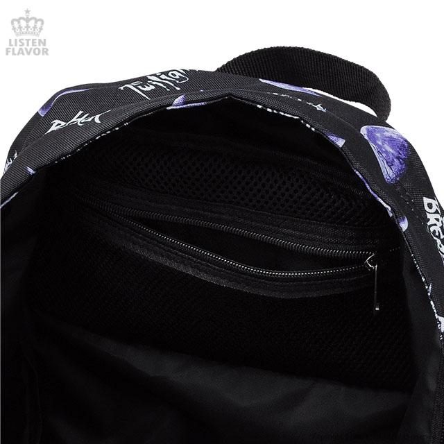 メタルムーン総柄バックパック【BLACK】 /リッスンフレーバー [原宿系ファッション]
