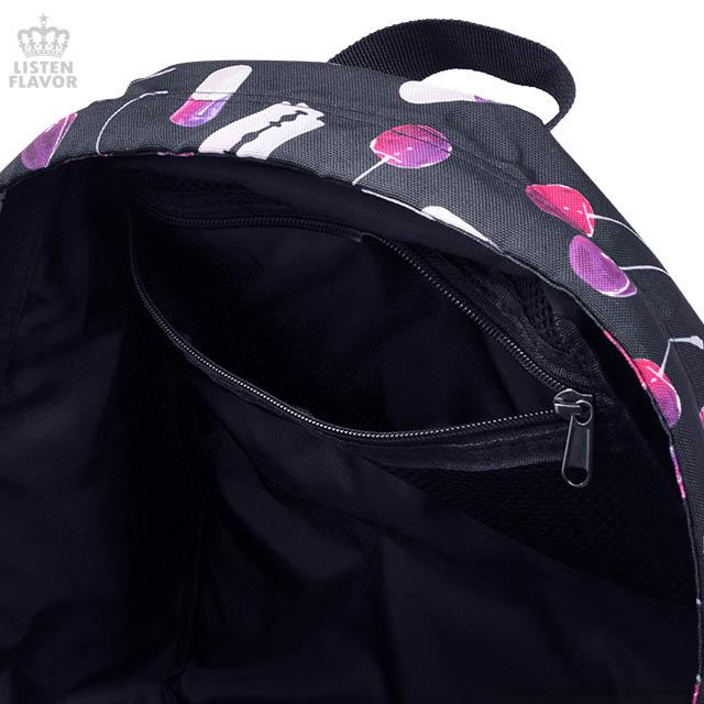 チェリーの誘惑総柄バックパック【BLACK】 /リッスンフレーバー [原宿系ファッション]