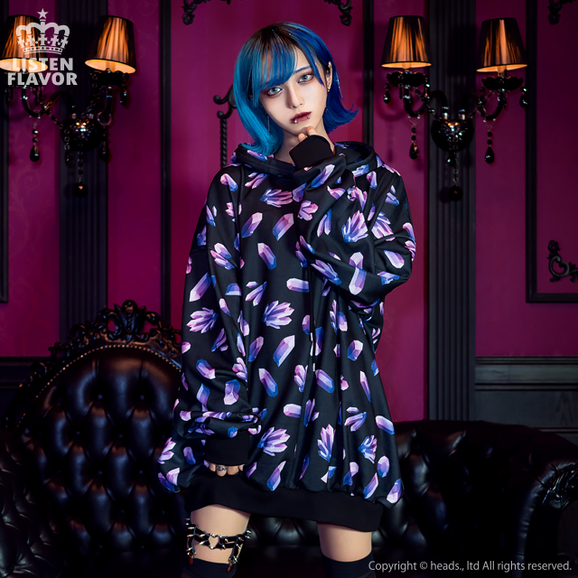 ジュエル総柄BIGパーカー 【BLACK×AMETHYST】/リッスンフレーバー [原宿系ファッション]