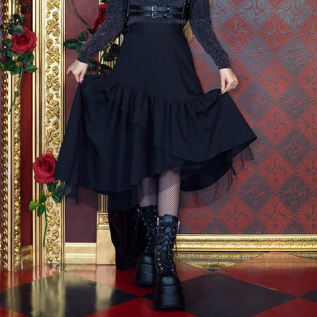 ラッフルフリルスカート 【BLACK】/リッスンフレーバー