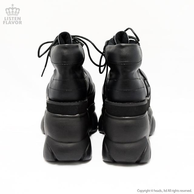 BOXER-01 レザー&メッシュ厚底ブーツ 【BLACK】/ DEMONIA(デモニア) [原宿系ファッション]