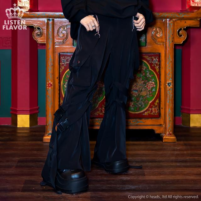 チェーンサスペンダー付ボンテージカーゴパンツ 【BLACK】/リッスンフレーバー [原宿系ファッション]