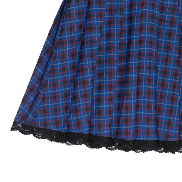 ベルト付プリーツスカート 【BLUE CHECK】/リッスンフレーバー