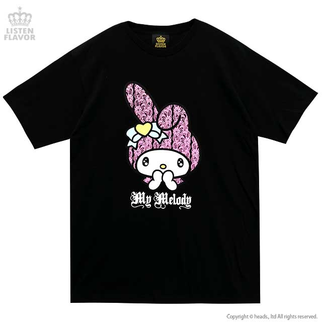 ときめきマイメロディTシャツ【BLACK】/マイメロディ×リッスンフレーバー [原宿系ファッション]