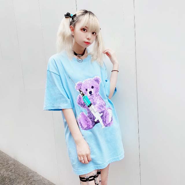 お注射ベアビッグTシャツ 【L.BLUE】/リッスンフレーバー