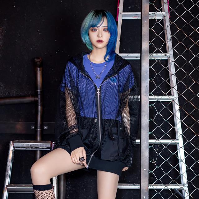 メッシュシースルージップパーカー 【BLACK】/リッスンフレーバー