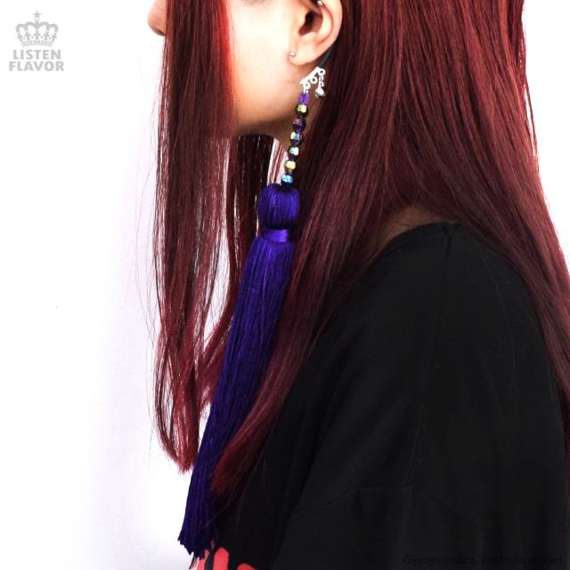 ビッグタッセルイヤーフック 【紫】 /Cape of good hope