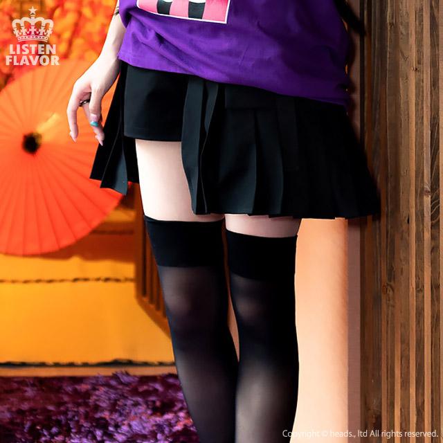 ショーパン付レイヤードプリーツポケットスカート【BLACK】/リッスンフレーバー [原宿系ファッション]