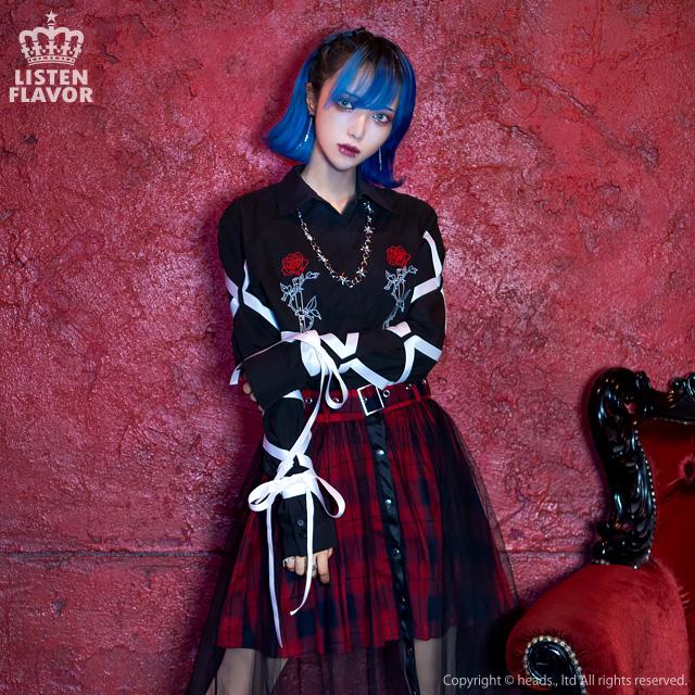 薔薇とナイフ 袖リボンシャツ 【BLACK】/リッスンフレーバー [原宿系ファッション]