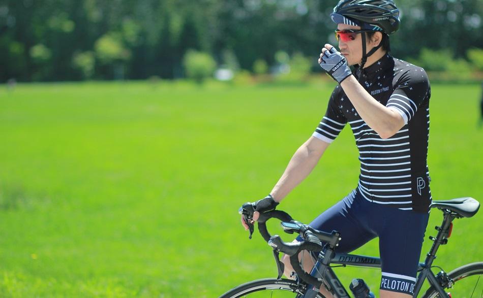 Peloton de Paris (ペロトン・ド・パリ)セットアップジャージ<br>半袖 S・M・L・XL 各サイズ<br>サイクルジャージ 上下セット セットアップ サイクルウェア サイクルウエア ビブ ショーツ 自転車 ウェア ウエア ボーダー柄 おしゃれ オシャレ 夏 メンズ