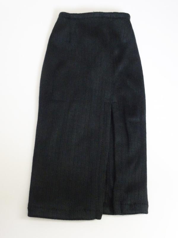 【単品】DDS/DD/DDdy/スマートドール/AZO2/SD ニットタイトスカート/ミディ/前横スリット(黒リブ)
