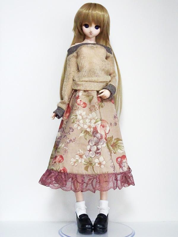 【単品】DD ボタニカルロングスカート(フルーツ/モカ)
