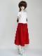 【単品】40cm〜60cmフリーサイズ ギャザースカート/ニット(クリムゾンレッド)