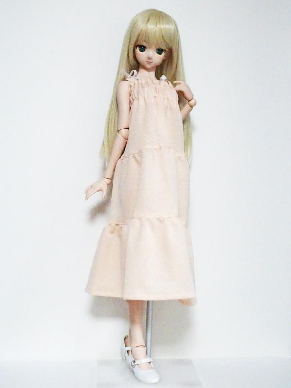 50cm〜60cmフリーサイズ タイト肩紐ロングワンピース(シャーベットオレンジ楊柳)