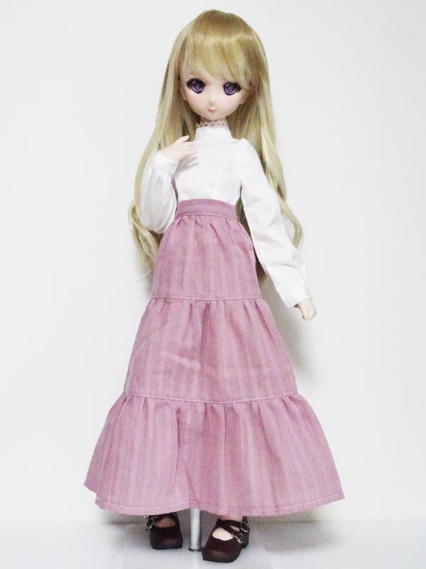 【単品】オビツ50/DDP/MDD ロングティアードスカート(ピンク綿レース)