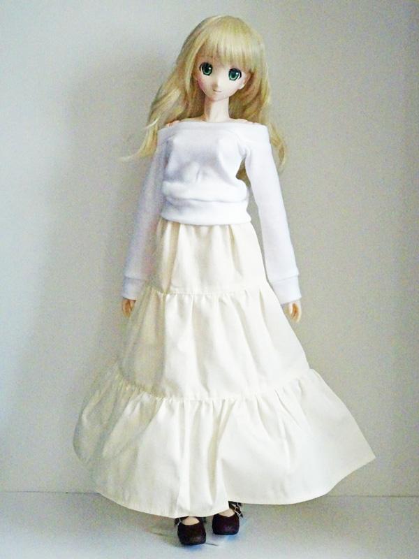 【単品】DD/スマートドール/AZO2 ロングティアードスカート(トワイライトグレイフラワー)