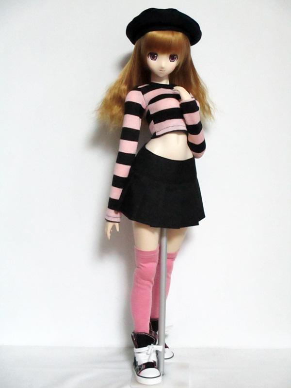 【単品】オビツ50/AZO2(G)/DDP/DDS 長袖へそTシャツ(ピンク×黒ボーダー)