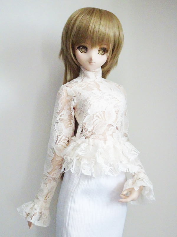 【単品】DDS/DD/スマートドール(S) シアー袖裾フリルブラウス&レースチューブトップ(キナリ)