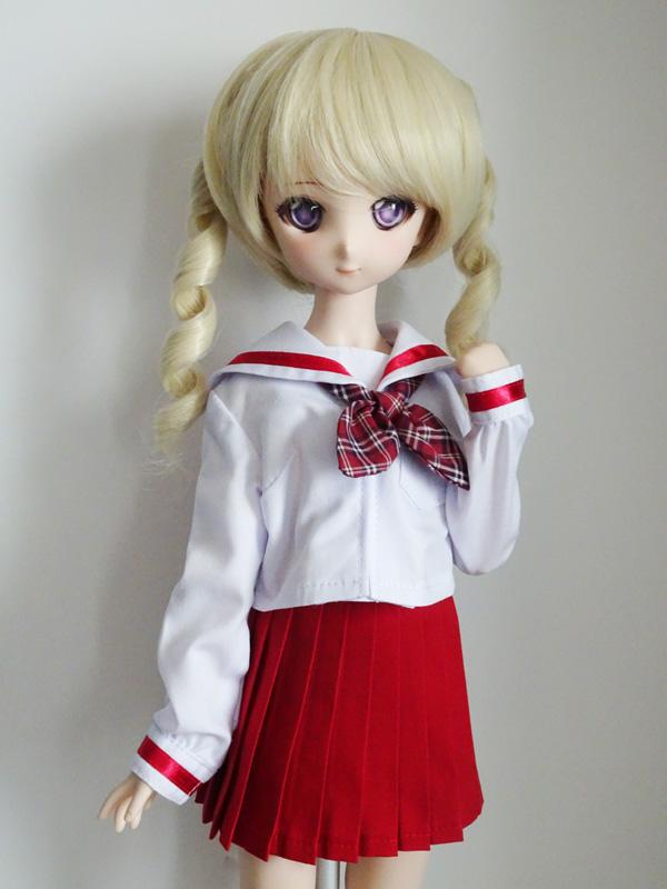 MDD/DDP 中等部セーラー服/校則丈(白×白襟×赤ライン×赤スカート)