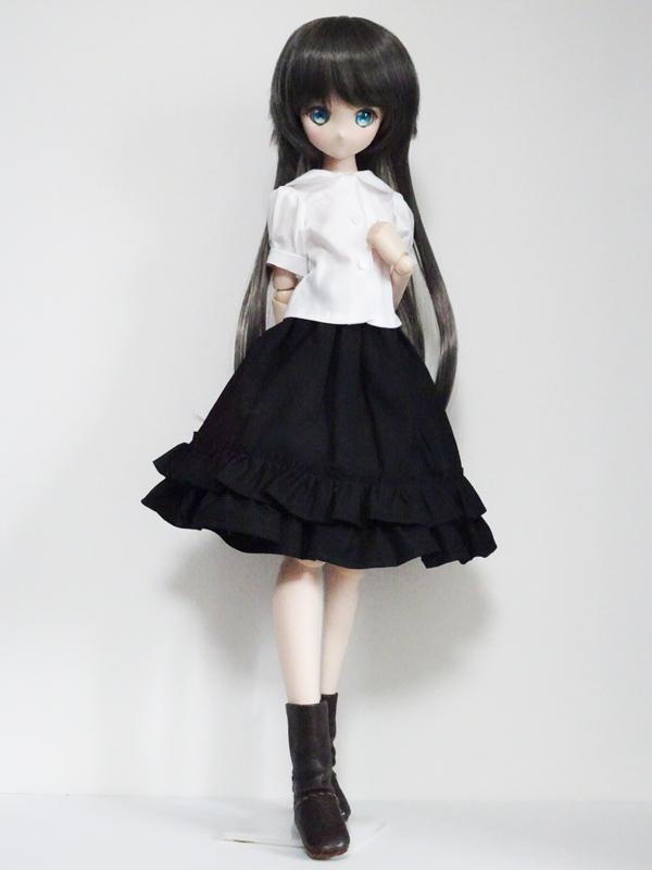 【単品】MDD/DDP/オビツ50 スウィートフリルヘムスカート(黒)