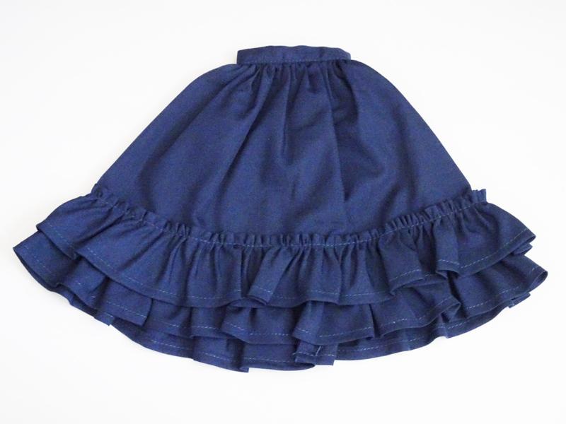 【単品】MDD/DDP/オビツ50 スウィートフリルヘムスカート(紺)
