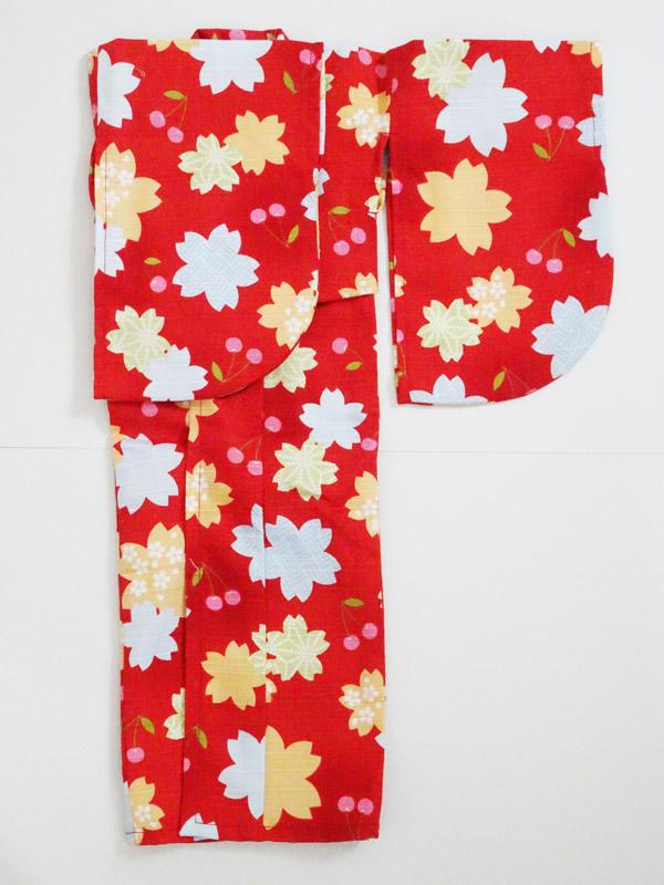 【単品】オビツ50/DDP/AZO2/SD 浴衣(桜とさくらんぼ/赤)