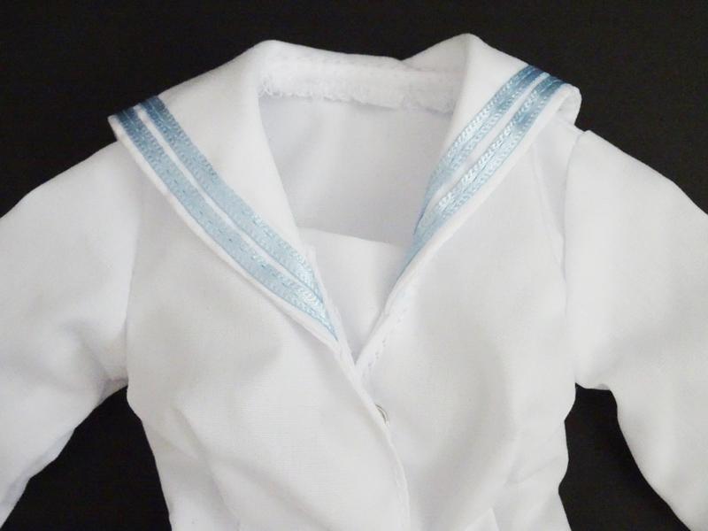 【単品】オビツ50 長袖セーラーブラウス/2本ライン(白/水色ライン)