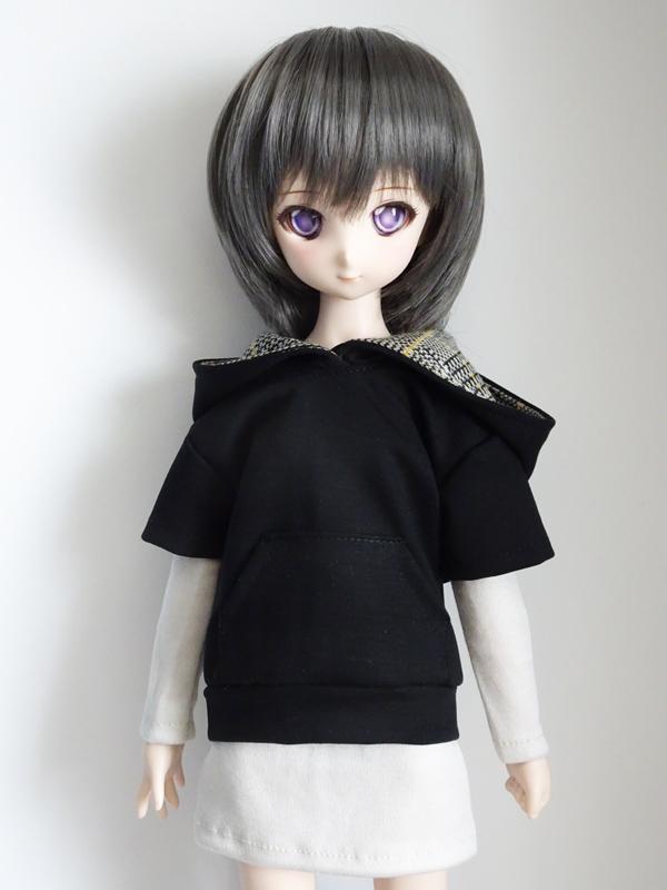 【単品】40〜60cmフリーサイズ パーカートレーナー/半袖(黒/フード裏:黒黄チェック)