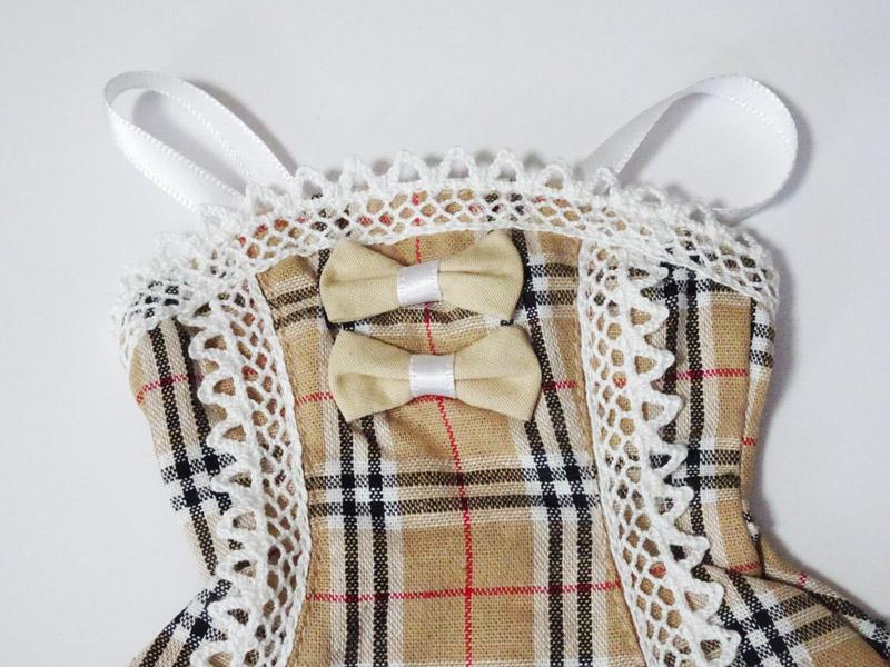 【単品】オビツ50/DDP リボン&レースジャンバースカート(ベージュチェック)
