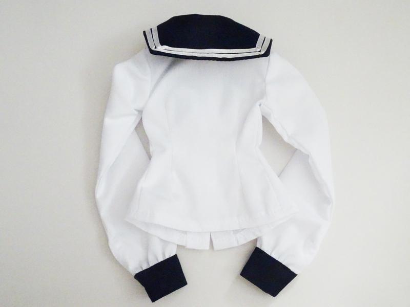 【単品】オビツ50 長袖セーラーブラウス/2本ライン(白&紺/白ライン)