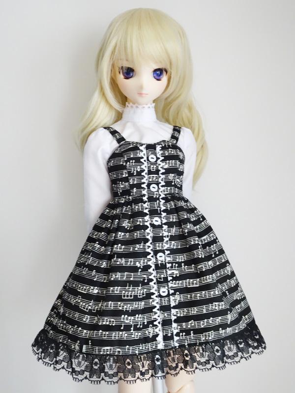 【単品】オビツ50(S.M)/DDP/MDD(L胸) フロントボタンジャンバースカート(音符)