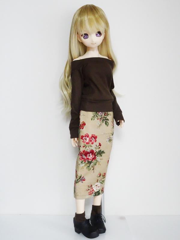 【単品】オビツ50/オビツ48/DDP ミディロングタイトスカート(ティーフラワー)