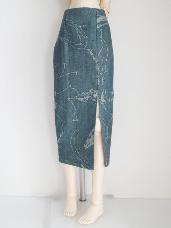【単品】オビツ50/オビツ48/DDP ミディロングタイトスカート/前横スリット(ミストグリーンフラワー)