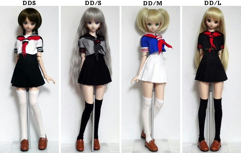 DDS/DD 半袖セーラー服・おへそ丈/ミニ丈(紺&白/白ライン/赤リボン)