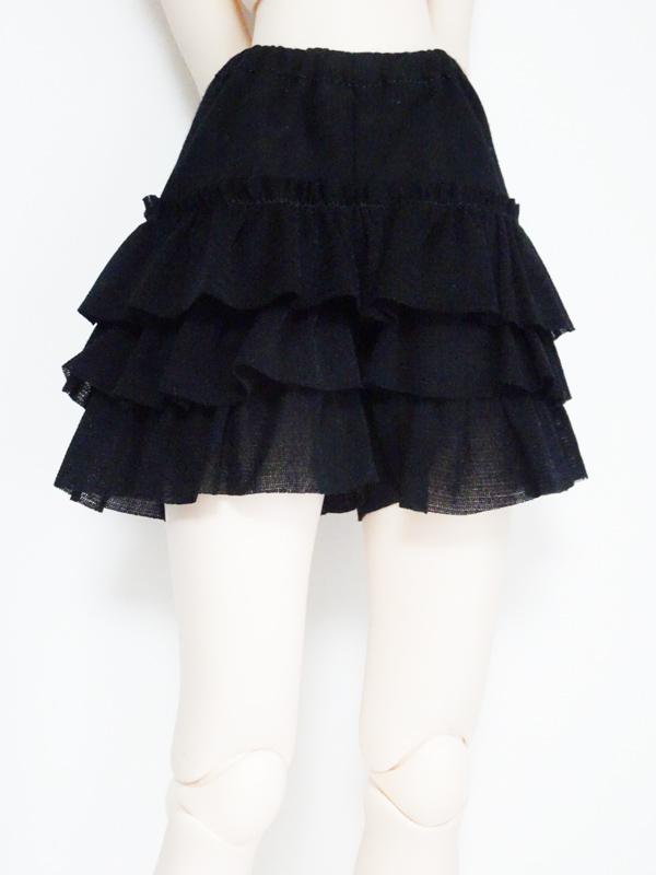 【単品】40cm〜50cmフリーサイズ フリルキュロット(黒)