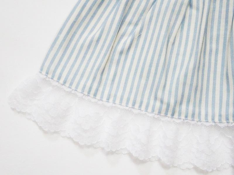 【単品】DD/スマートドール/AZO2 ロングティアードスカート(水色ストライプ)