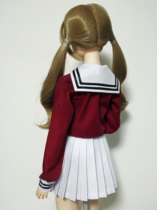 オビツ50 高等部セーラー服/校則丈(ワイン&白×黒ライン×黒リボン)