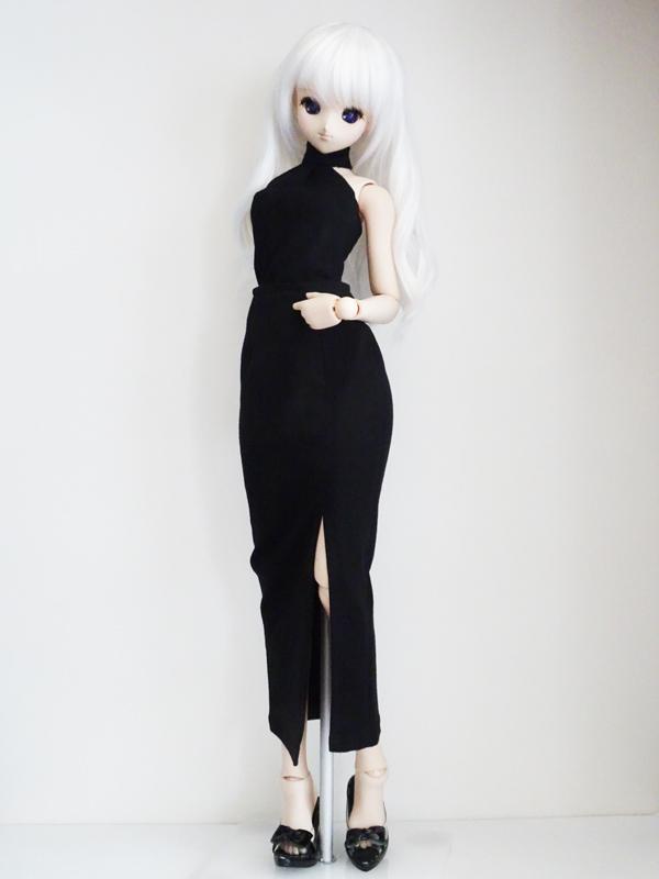 【単品】DD/DDdy/スマートドール ニットロングタイトスカート/前横スリット(カーキリブ)